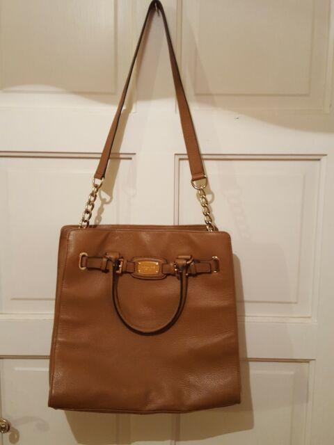 Michael Kors Hamilton Large Brown Tan Leather Satchel Tote Purse Bag