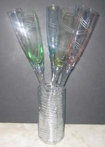 6-Handblown-Crystal-Champagne-Flutes-Bouquet-etched-multi-colored-glass-amp-Vase