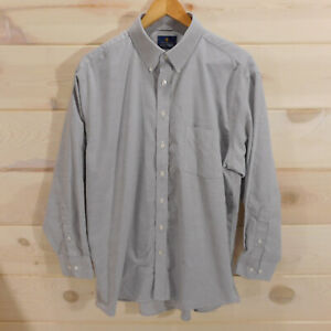 Stafford-Men-039-s-Size-17-Regular-Fit-32-33-Travel-Wrinkle-Free-Oxford-Shirt-Gray