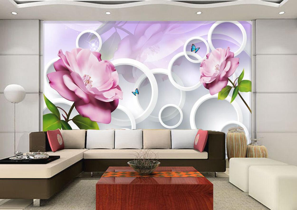 3D Fleur Elgante 2 Photo Papier Peint en Autocollant Murale Plafond Chambre Art