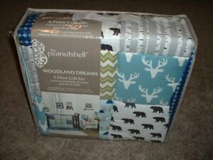 Details About The Peanutshell Peanut Shell Woodland Dreams 4 Piece Crib Bedding Set Baby Nwt