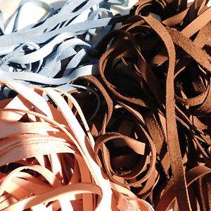 LEDERBAND-flach-ROSA-oder-BLAU-Velourleder-Lederschnur-Lederstreifen-100x0-8-cm