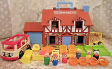 Vintage Fisher Price Little People Play family Brown Tudor House #952 + Nursery
