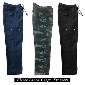 Para-Hombre-Lana-Forrada-Cargo-Pantalones-Pantalones-Elastico-Pantalones-De-Trabajo-Combate-Caminar
