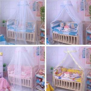 Round-Dome-Baby-Infant-Mosquito-Net-Toddler-Bed-Crib-Canopy-Netting-White-Babe