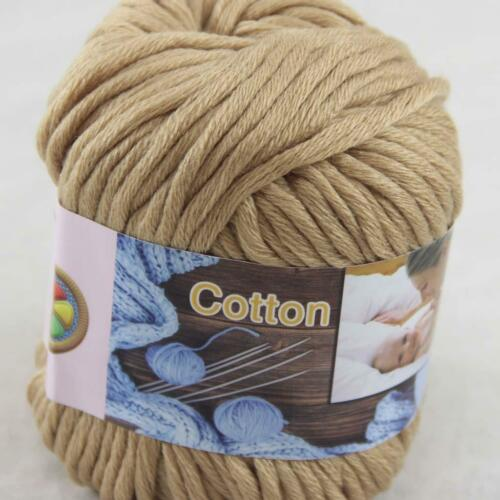 1Ball  50g Special Thick Worsted 100/% Cotton Hand Knitting Yarn Sand 422-11