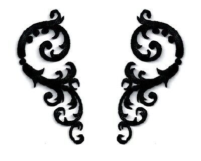 Swirl Art  Abstract Design Set - Black Rayon - Embroidered Applique Patches