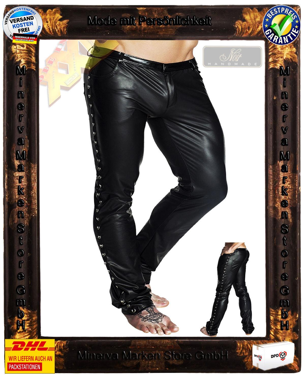 schwarz Handmade Wetlook Hose schwarz H039 Clubwear Gay Vinyl Nieten Gothic Gr.XL=7