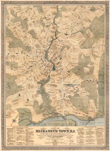 """18/"""" x 24/"""" 1879 Map Of Elizabeth Town New Jersey The Revolutionary War Time"""