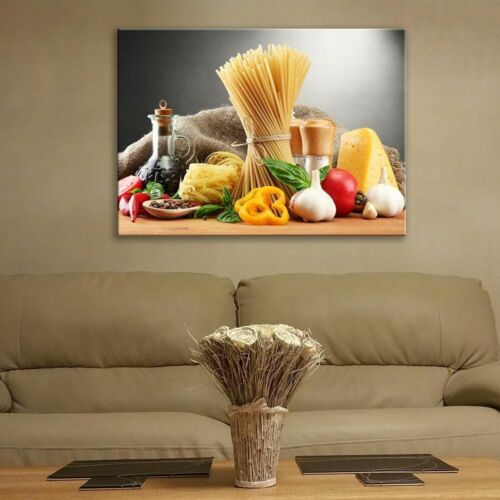 Glass Picture Toughened Wall Art Unique New Modern Food on the Grey Any Size