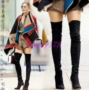 Womens-Pointy-Toe-Over-The-Knee-Thigh-High-Boots-Stilettos-High-Heels-Shoes-Size