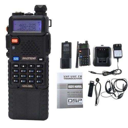 Baofeng Dual Band UV-5R VHF/UHF Radio +3800mAh Battery/Clip/PTT Earpiece/Charger