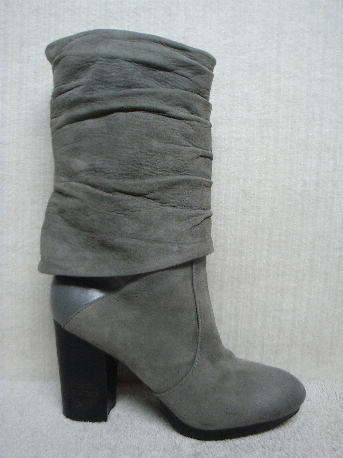 VINCE CAMUTO - CASSANDRA -Tumbled Leather Gray Fold Over Boots Heels -Size 9.5 M