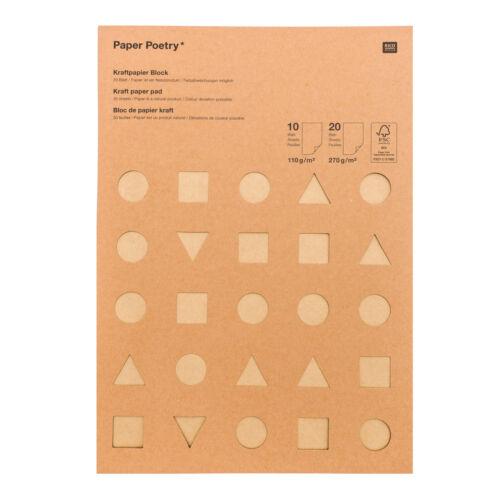 Kraftpapier block MIX DIN A4 30 Blatt dick dünnes Papier  Bastelpapier braun