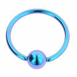 Purple Green 1.6 x 8mm Titanium Ball Closure Rings
