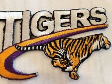 """VINTAGE IRON ON EMBROIDED PATCH LSU TIGERS  3 1/4"""" x 2 1/4"""""""