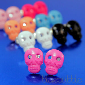 FUNKY-MEXICAN-SUGAR-SKULL-EARRINGS-GOTHIC-SKELETON-HEAD-PIRATE-ROCK-KITSCH-HEART