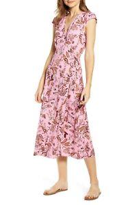 Love-Fire-Pink-Garden-Floral-Wrap-Dress-XS-NEW