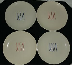 Rae-Dunn-L-L-034-USA-034-Appetizer-Plates-4th-Of-July-Brand-New-HTF-Rare
