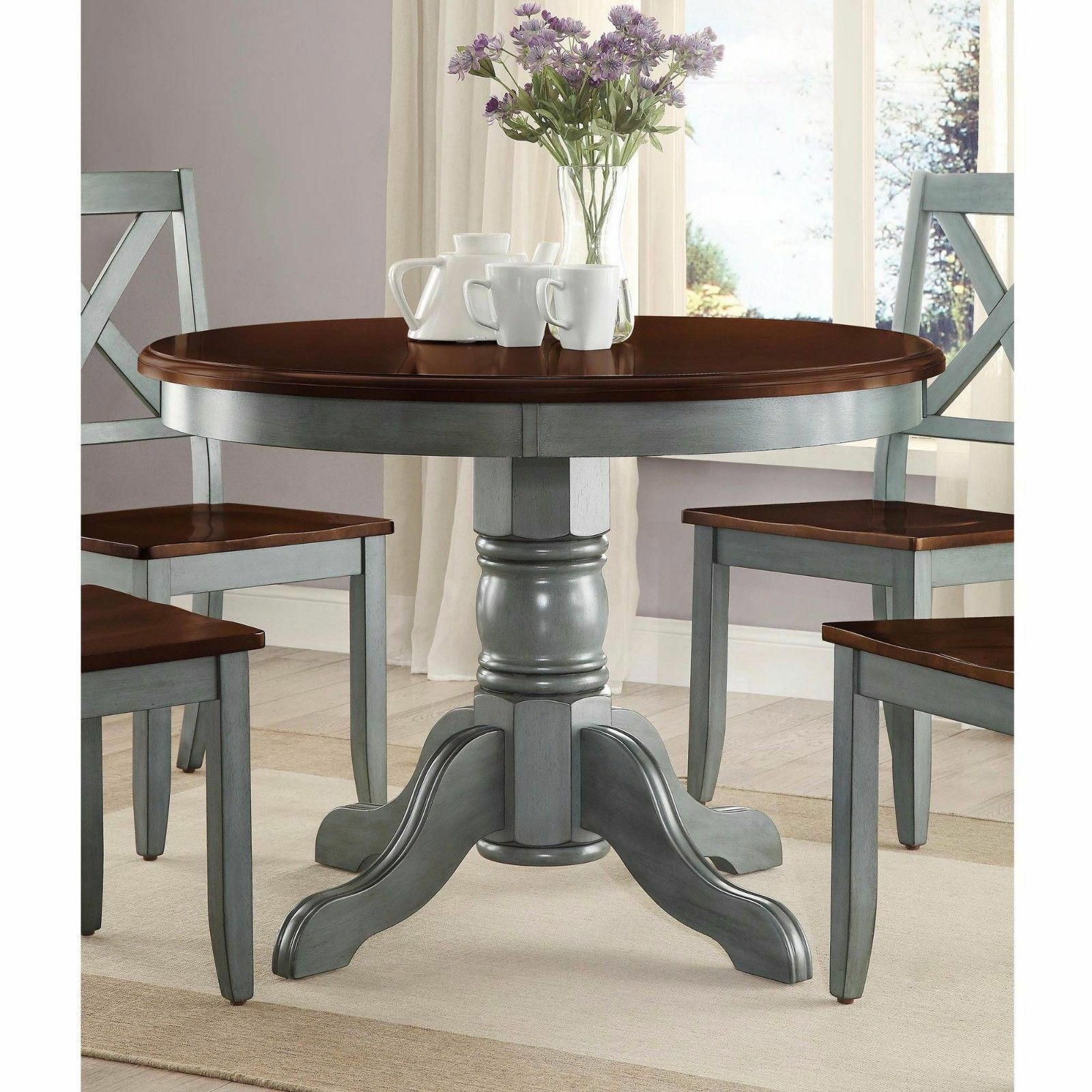 Picture of: Farmhouse Solid Wood Dining Table Round Pedestal Antique Blue Brown Kitchen For Sale Online