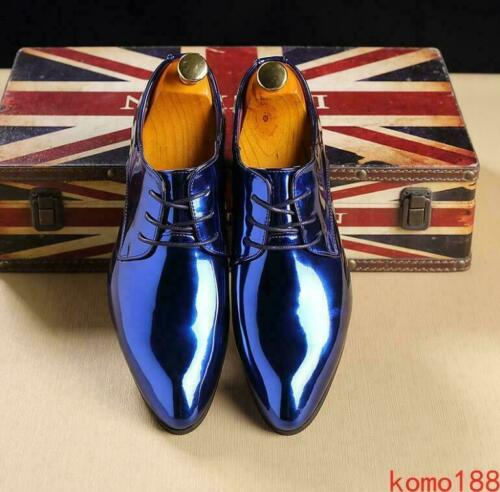 Mens faux Patent Leather Dress Pointed toe formal Wedding Oxfords business Shoes
