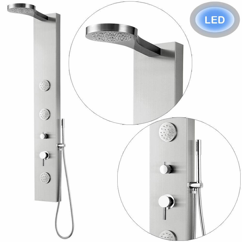 LED de acero inoxidable cepillado panel de la ducha chorros de masaje Rainshower Sanlingo