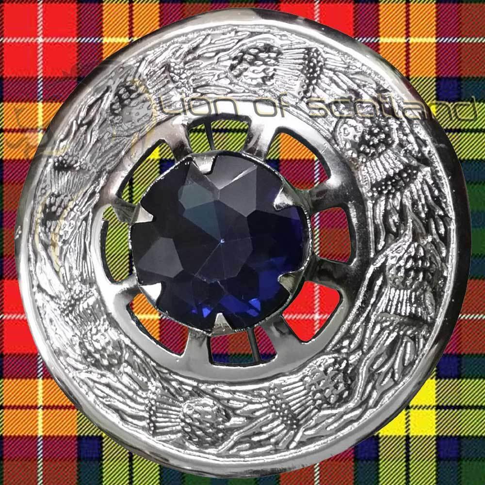 LS Celtic Fly Plaid Brooch Blue Stone Chrome Finish/Highland Kilt Pin & Brooches