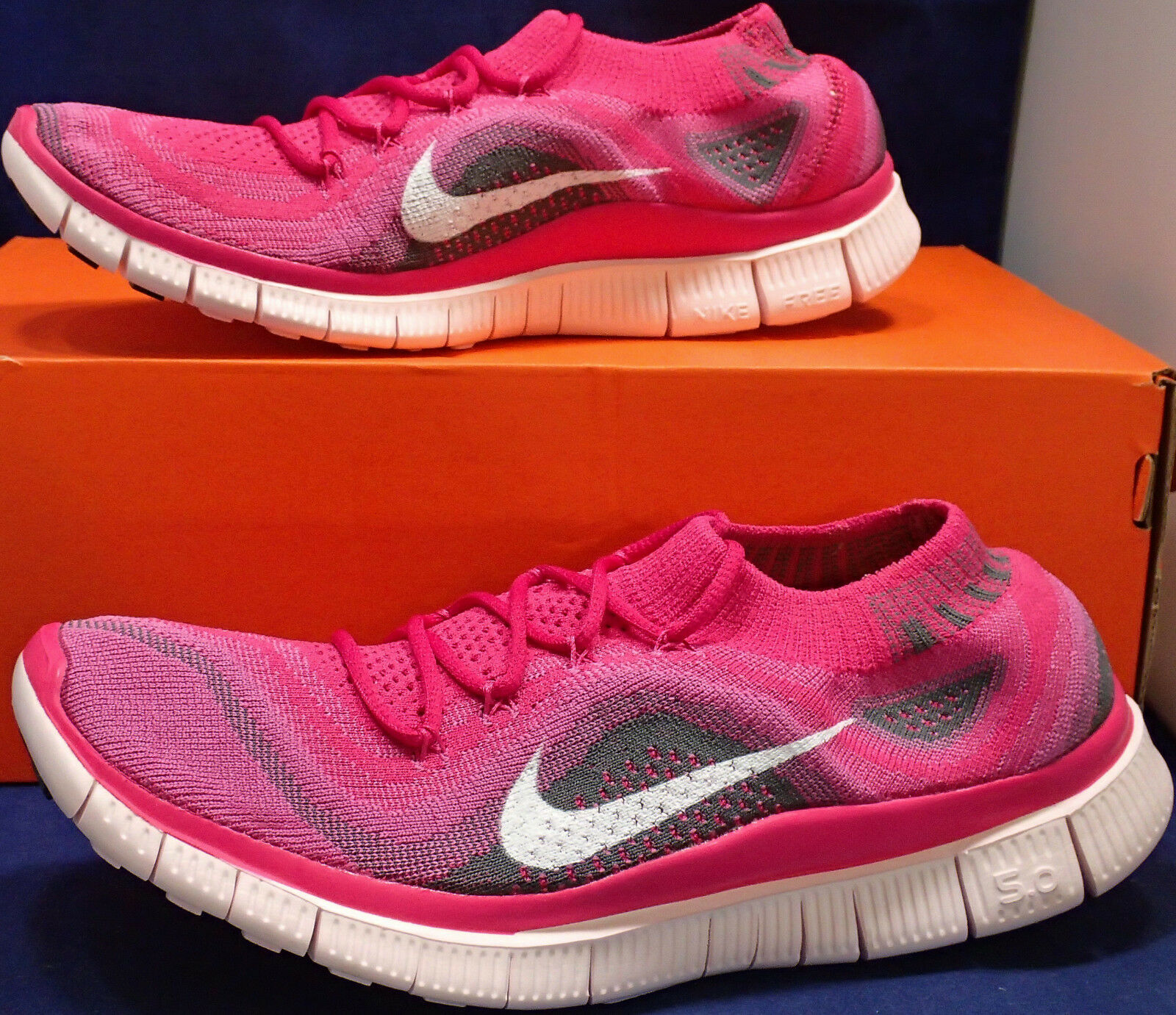 2013 Womens Nike Free Flyknit+ OG Fireberry White Pink Run SZ 8.5 ( 615806-610 )