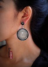 Boucles d`Oreilles Clous Ethnic Gros Rond Mini Perle Email Noir Vintage AA 8