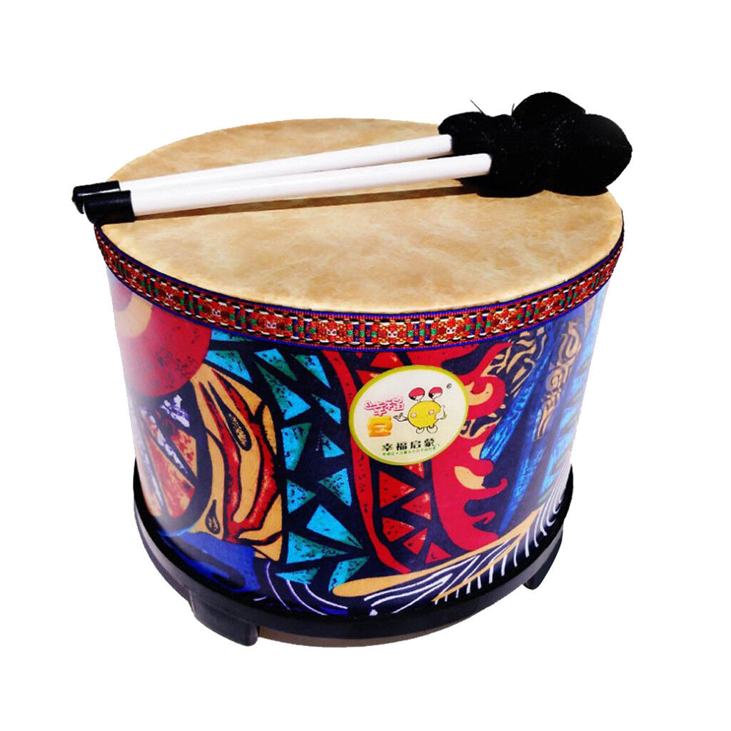 10'' Wood Hand Drum w  2x Beaters Hammers for Kids Music Enlightment Toy
