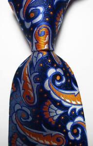 New-Classic-Paisley-Blue-Orange-White-JACQUARD-WOVEN-Silk-Men-039-s-Tie-Necktie