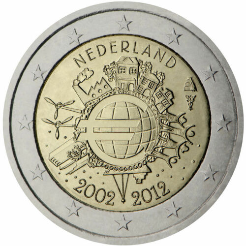 """Netherlands 2 euro comm coin 2012 /""""TYE 10 Year of Euro cash /"""" Uncirculated NEW"""