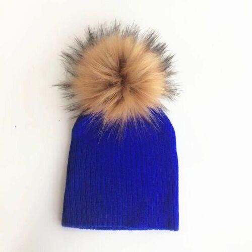Baby Winter Hat Faux Fur Pompom Infant Toddler Knitting Cap Kids Children Beany