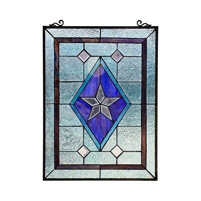 24 X 18 Victorian Star Stained Glass, Victorian Stained Glass Window Panels