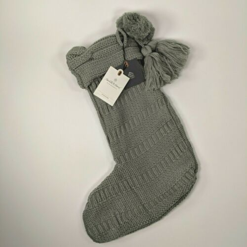 Silver Green//Grey Knit w//Tassels Hearth and Hand Magnolia Christmas Stocking