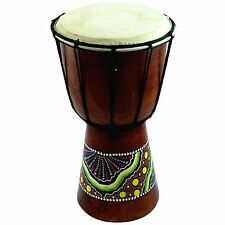 "Small Mahogany Wood African Goat Skin Djembe Bongo Drum Painted Design 6"""
