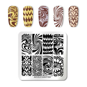 NICOLE-DIARY-Square-Nail-Stamping-Schablone-Flower-Nagel-Kunst-Stamp-Stencil-085