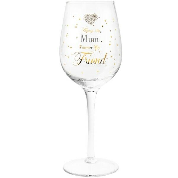 Best Nan Ever Wine Glass Sparkly Gold Glitter Stem Gift Present Polka Dot Boxed