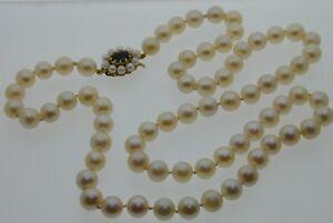 Vintage-Mikimoto-9ct-Gold-Cultured-Pearl-Necklace-Garnet-Clasp-Original-Box-1972
