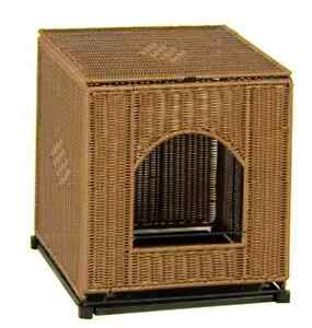 Discrete Hidden Kitty Litter Box Cover Wicker Like Extra