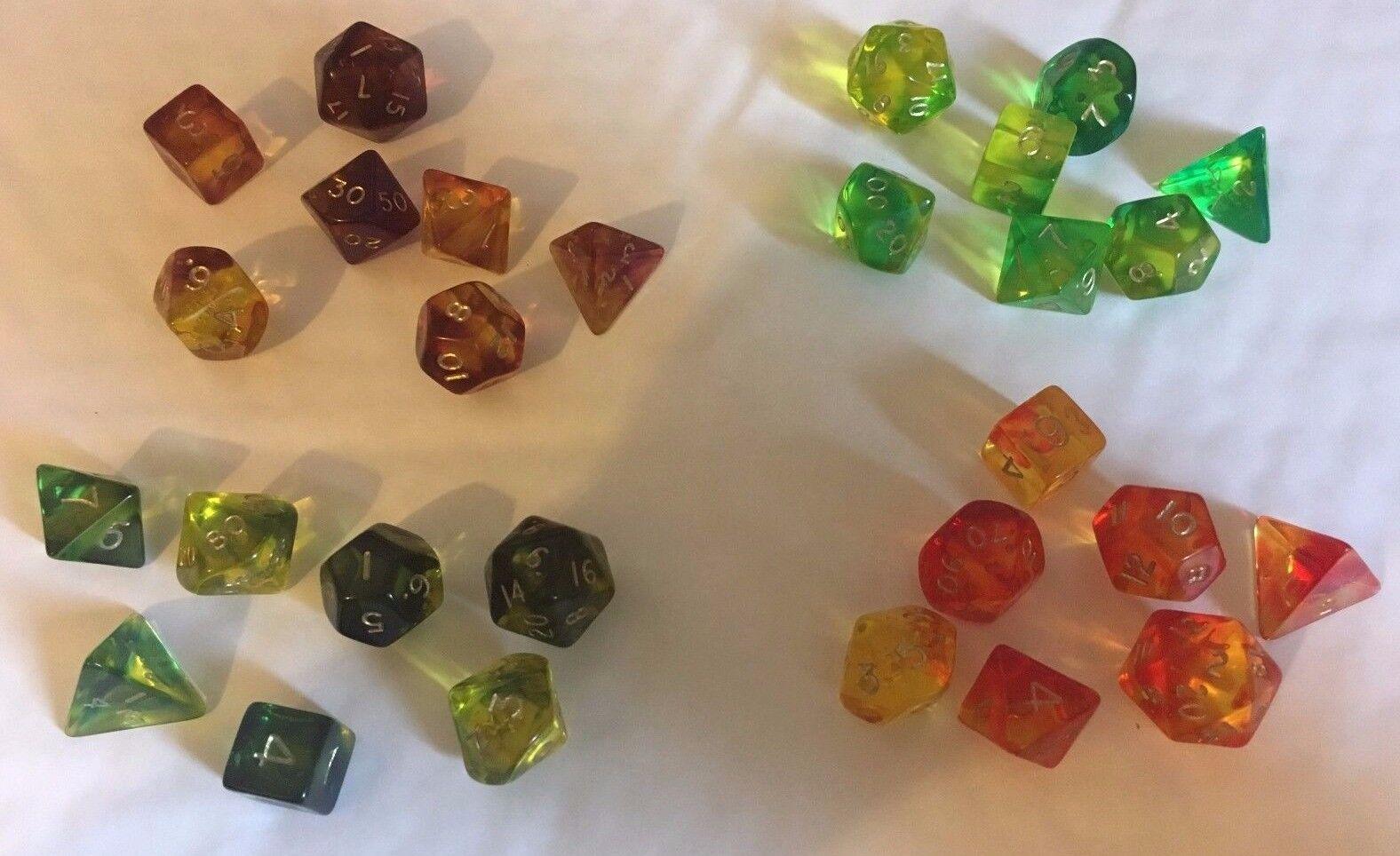 Gem Blitz Multi sided dice set of 7 D4 D6 D8 D10 D12 D20 Dungeons D&D RPG poly