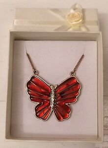 Accessorize-Gold-Tone-Amber-Coloured-Diamante-Butterfly-18-034-Necklace-A64