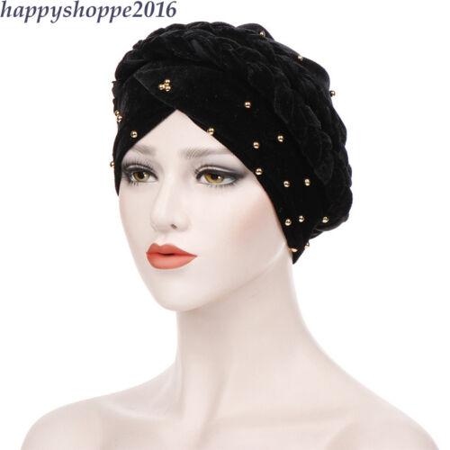 Chemo Cap Muslim Turban Velvet Hat Braid Hijab Wrap Headwear Beads Women Bandana