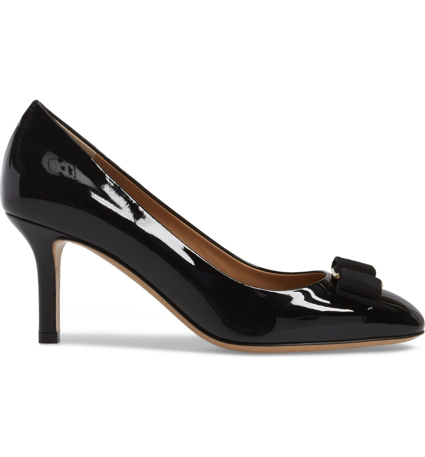 NIB NIB NIB NEW Salvatore Ferragamo Erice Patent bow pumps shoes black 7.5 8 9.5 B 1b53ef