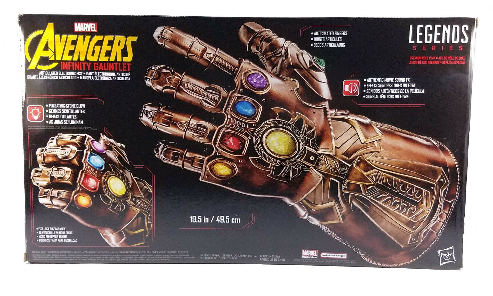 Marvel Avengers Legends Series Thanos Infinity Gauntlet Articulated  Electronic  garantito