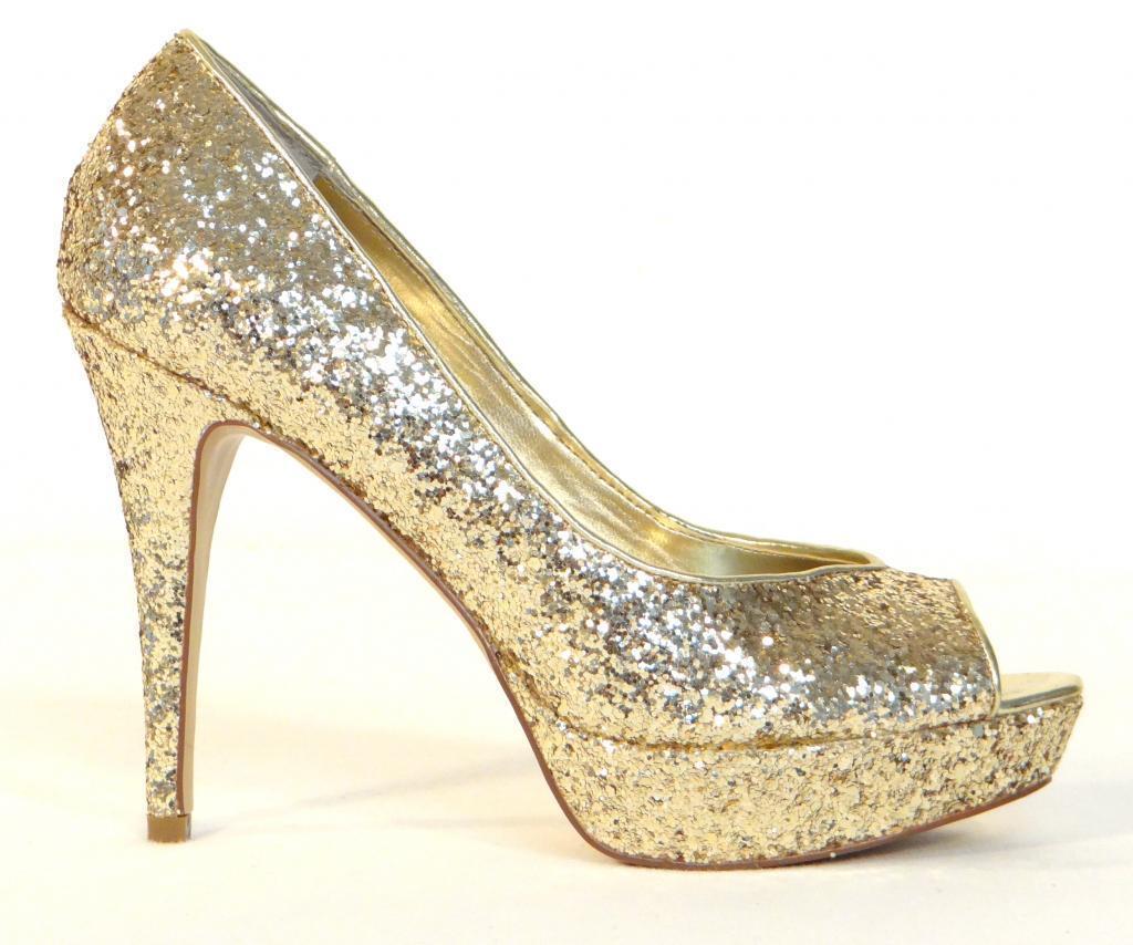 Women's Guess Gaby Gale Glitter Gold Peep Toe Platform Heels Pumps