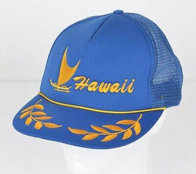 Vintage 90s HAWAII Blue Trucker Hat Cap Snapback Men\u2019s Size Polyester