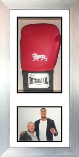 Signed boxing glove display case with photo White Frame