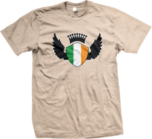 Irish Shield Crest Wings Ireland Flag Colors Heritage Team IRL IE Men/'s T-Shirt