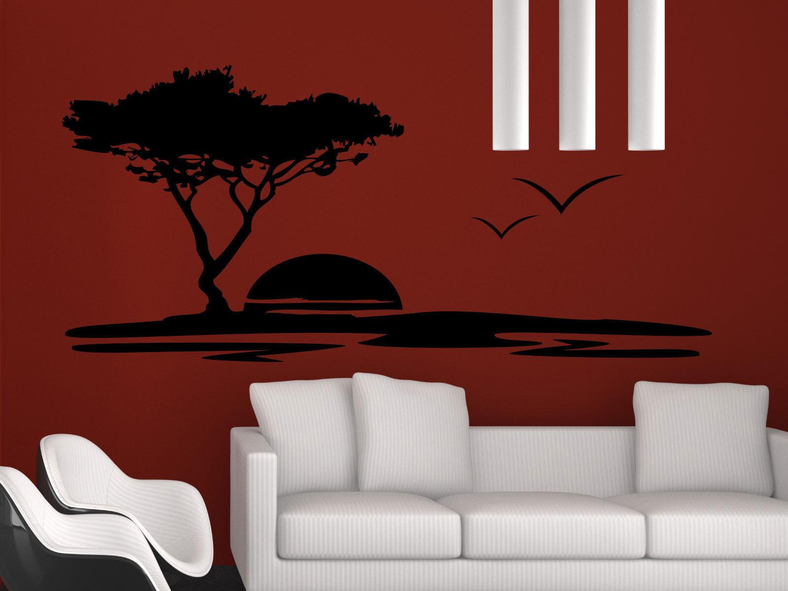 Wandtattoo Baum Landschaft Afrika Wohnzimmer Kinderzimmer Schlafzimmer Küche